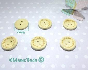 "Set of 6 ""Handmade"" buttons 2 holes wood sewing/scrapbooking/DIY Ø 25mm REF:BO natural / 55"