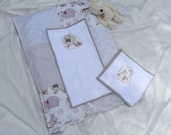 Changing mat cotton with 2 towels snap cover