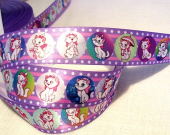 Printed Satin Ribbon * 25 mm * cat MARIE bubble umbrella Cartoon - sold by the yard