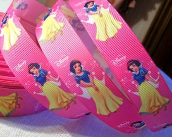 Printed grosgrain Ribbon * 25 mm * Princess SNOWWHITE pink - sold by the yard