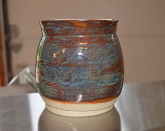 Squared lip blue and brown vase