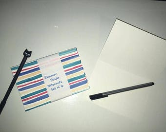 Summer Stripes Notecards - Blank Notecards Set of Six