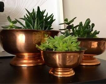 Vintage Copper Planters // Succulent Planters // Mid Century Copper
