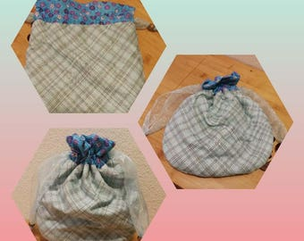 blue drawstring bag, pouch, gift or decor