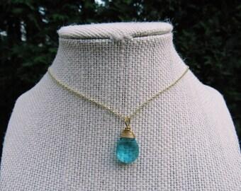 Blue Drop Charm Necklace