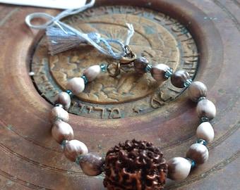 Rudraksha mala meditation bracelet Job's tears