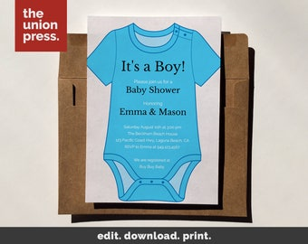 Baby Shower Invitation Template, Printable Invitation, It's a Boy Onesie, Instant Download DIY Invitation, Customize All Colors, 5x7