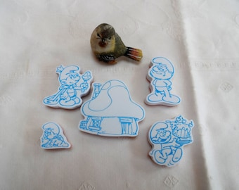 set of 5 foam stamps and rubber Smurf theme