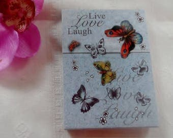 stickers, notebook, gift, pattern with butterflies flying around, romantic
