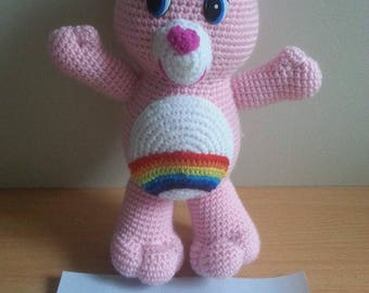 Pink Teddy bear toy is hand crocheted