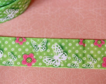 pretty Green Ribbon with butterflies