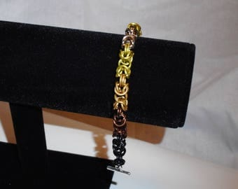 6.5 inch Brown Toned Byzantine Bracelet