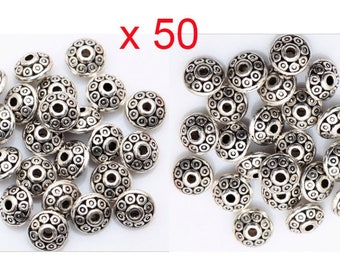 50 beads spacer saucer Antique silver necklace pendant 6.5 mm