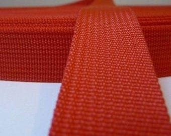 25 mm red polypropylene webbing
