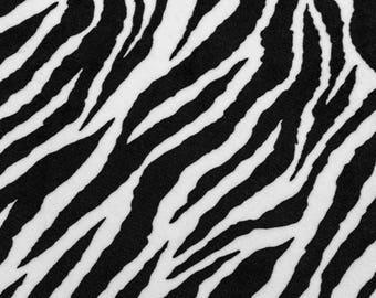 White Minky velvet zebra stripes black fabric coupon
