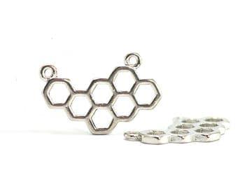 4 hexagon shaped charms - Honeycomb - Sun. : 23 x 15 mm - silver plate