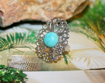 Filigree ring set in silver with Howlite turquoise style stone ethnic