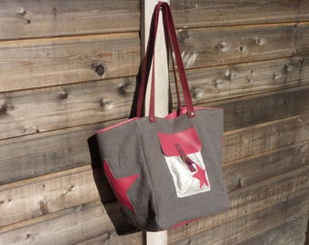 tote bag, Tote, canvas and leather gray and Fuchsia pink
