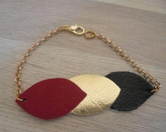 Gold leather and chain bracelet