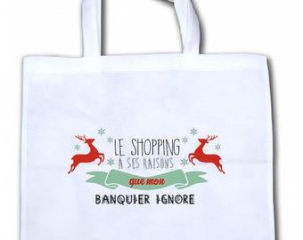 "TOTE bag canvas humor ""shopping has its reasons..."""