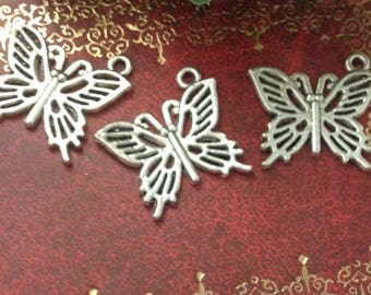 6 20 * 16mm silver plated Butterfly charm
