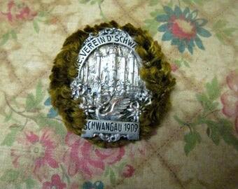 Souvenir Germany 1909 metal, antique, brooch