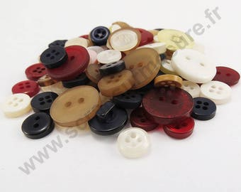 Decorative button - Burgundy Navy white - x50pcs