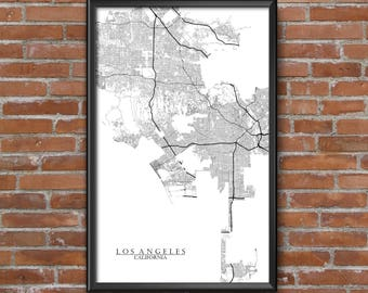 Los Angeles, California Map Art