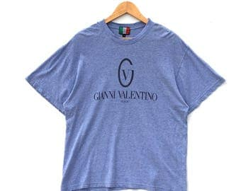 Rare!!! Vintage 90s Gianni Valentino italy Big logo spellout T Shirt Size M