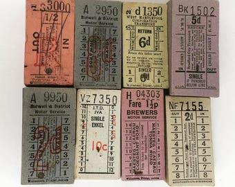 Vintage UK Bus Ticket Singles