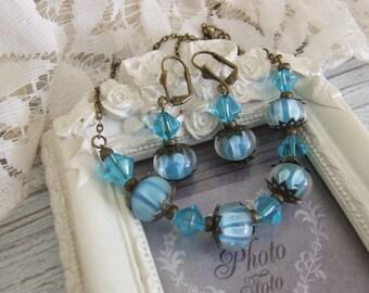 Set of vintage blue glass lampwork beads
