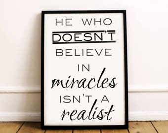 Christian Wall Art | Believe In Miracles | Christian Home Decor | Believe Print | Christian Print | Christian Poster | Christian Wall Decor