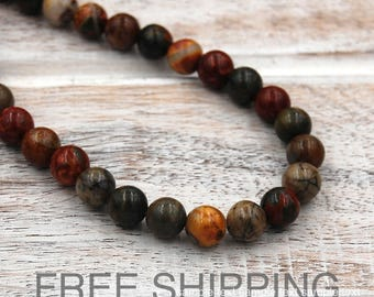 Red Creek Jasper Beads, 6mm, FREE SHIPPING  -15 inch strand