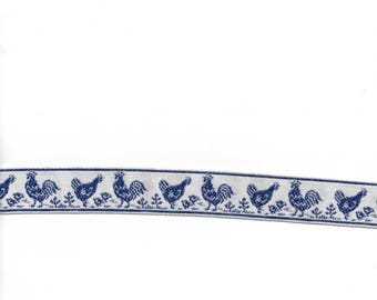 White Ribbon stitched roosters blue 25mm wide