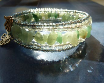 Bohemian boho MULTISTRAND seed beads and gemstone bracelet
