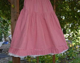 Red and white gingham cotton petticoat pattern linette