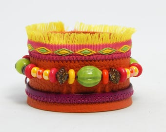 Orange leather Cuff Bracelet beads and fringes