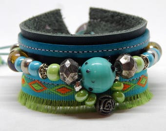 Green leather Cuff Bracelet and beads
