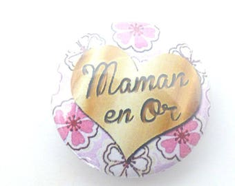 "a magnetic button ""mum in gold"" magnet"