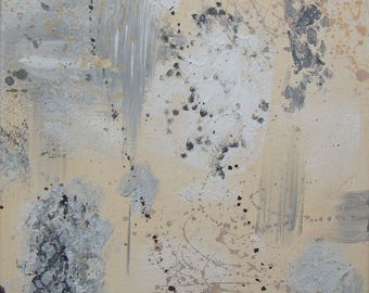 Abstract painting contemporary, beige and grey tones 25 x 25 cm