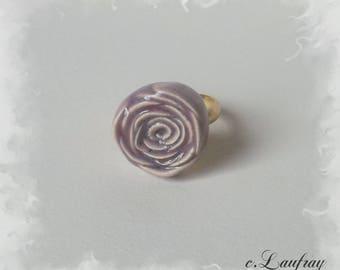 Ring shaped ceramic pink flower, pastel purple