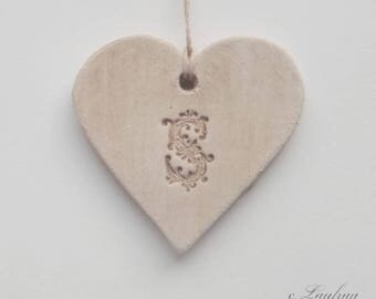 Diffuser essential oil, ceramic heart personalized with initial S, beige-Brown