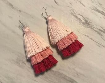 Tassel Earrings - Pink Ombre