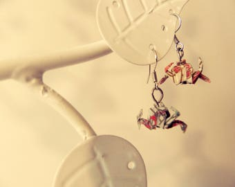 Colorful patterned origami cancer earrings
