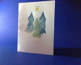 Green and blue Christmas tree card