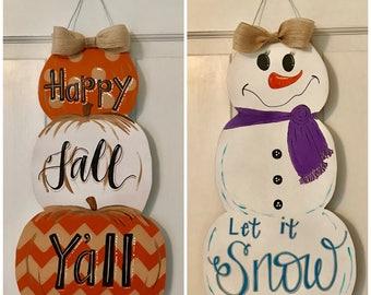 Double Sided Fall/Winter Door Hanger
