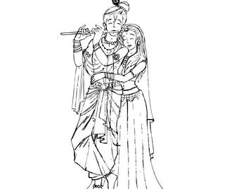 Krishna and Radha hand drawn illustration
