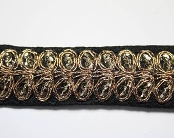 Stripe black embroidered Gold 2.5 cm x 1 m