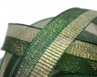 Ribbon green and Gold 2.5 cm x 1 meter