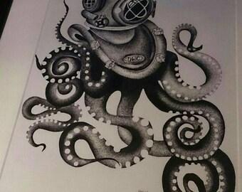 Octopus and divers helmet